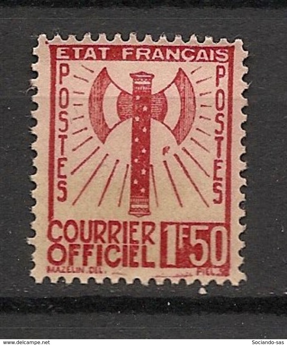 France - 1943 - Service N°Yv. 8 - Francisque 1f50 Brun-rouge - Neuf (*) / MNG - Service