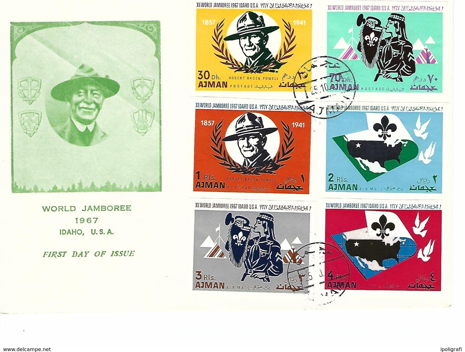 Ajman - 1967 - FDC, Boy Scout World Jamboree, Set Unperforated - Scoutismo