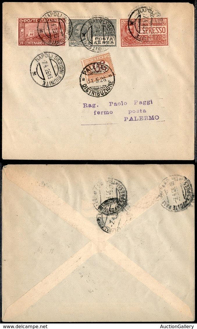 PRIMI VOLI - 1926 (7 Aprile) - S.A.N.A. - Linea Roma Palermo - Volo Inaugurale Napoli Palermo (Longhi 1471 - Sass. 59b) - Non Classificati