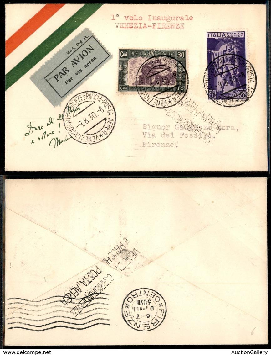 PRIMI VOLI - 1930 (9 Agosto) - T.A./Navigazione Transadriatica - Linea Venezia Roma - Volo Inaugurale Venezia Firenze (L - Francobolli