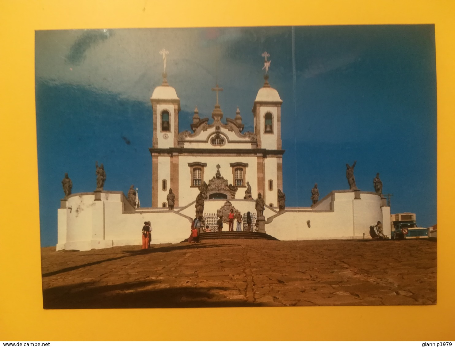 CARTOLINA POSTCARD BRASILE BRASIL 1980 CONGONHAS BASILICA SENHOR JESUS MATOSINHOS BOLLO INDUSTRY OBLITERE' RIO DE JANEIR - Brasile