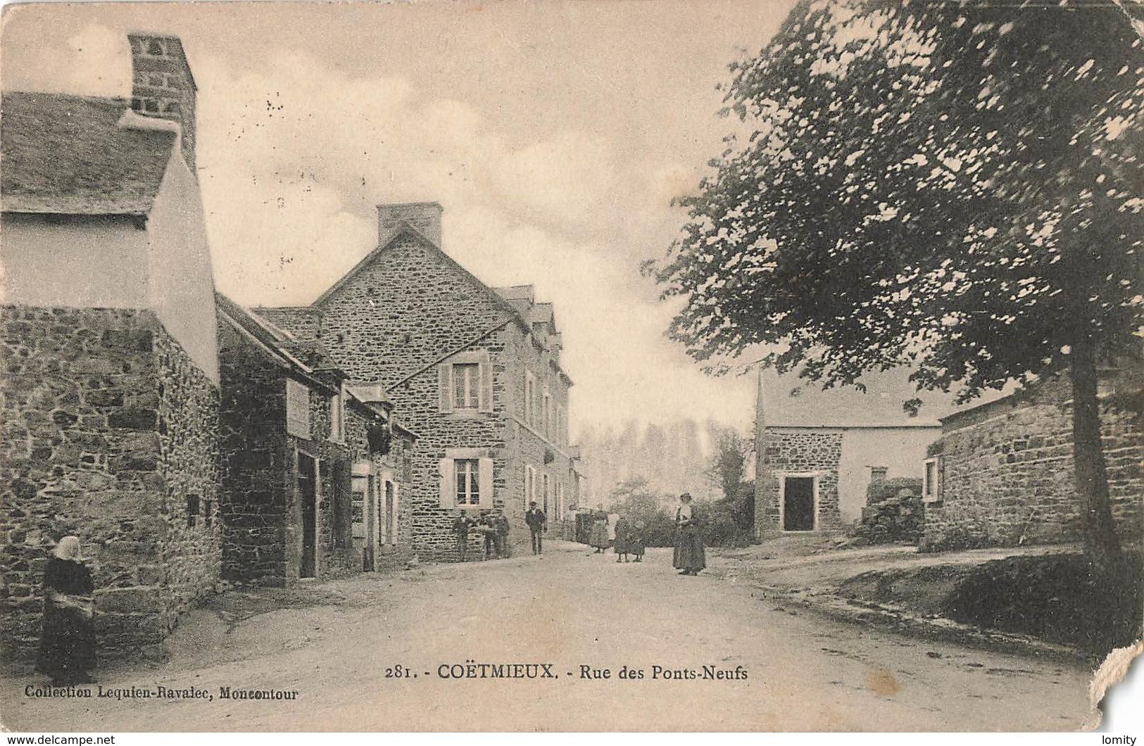 22 Coetmieux Rue Des Ponts Neufs Cpa Carte Animée , Voir état Ci Dessous - France