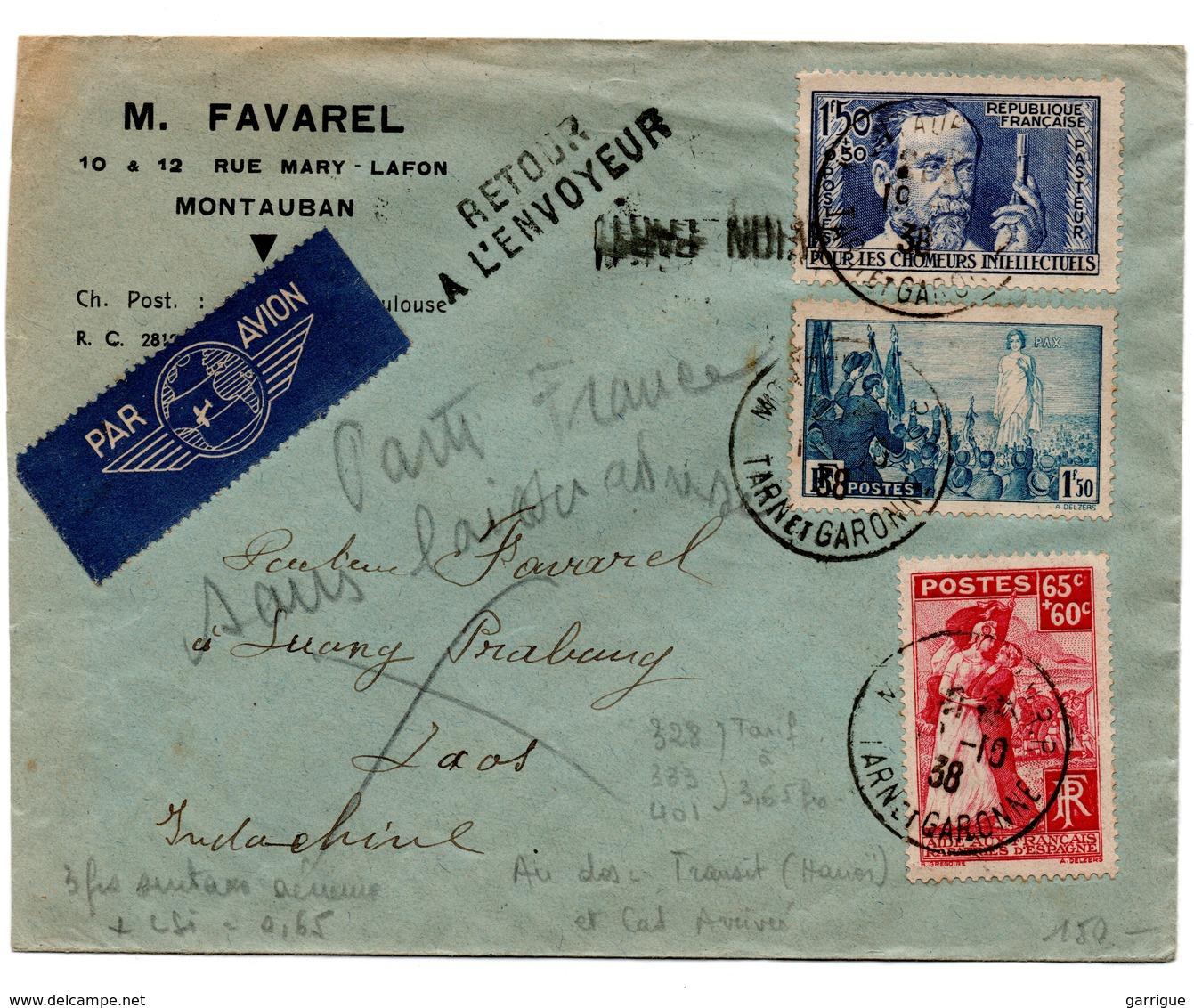 Lettre Par Avion Pour L'Indochine Avec Bel Affranchissement - 1921-1960: Modern Tijdperk