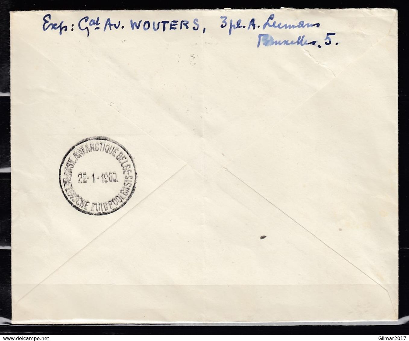 Luftpost Brief Van Bruxelles-Brussel BXC Naar Base Antarctique Belge - 1953-1972 Lunettes