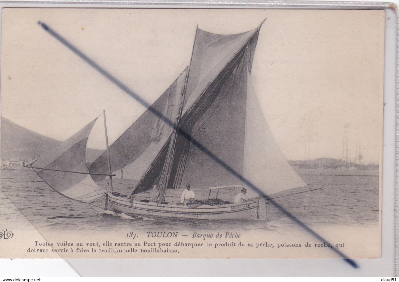 Toulon (83) Barque De Pêche.Toutes Voiles Au Vent,elle Rentre Au Port Pour Débarquer..... - Toulon