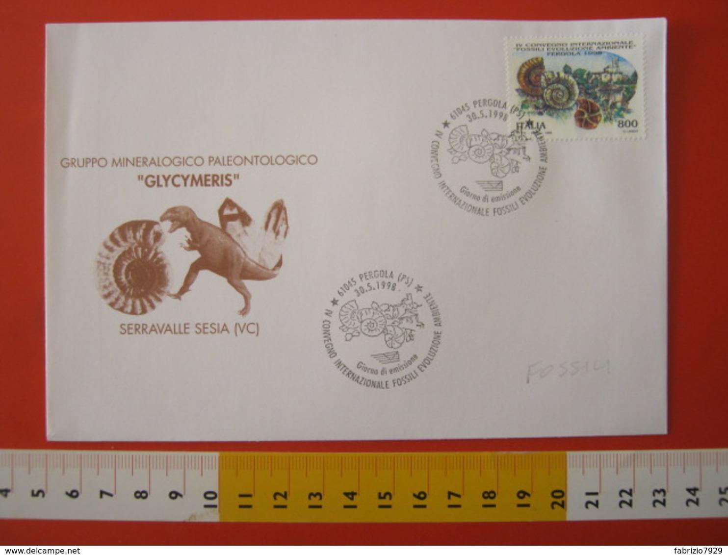A.13 ITALIA ANNULLO 1998 PERGOLA PESARO URBINO FDC CONVEGNO FOSSILI EVOLUZIONE AMBIENTE CONCHIGLIA SHELL AMMONITE BORGO - Fossilien