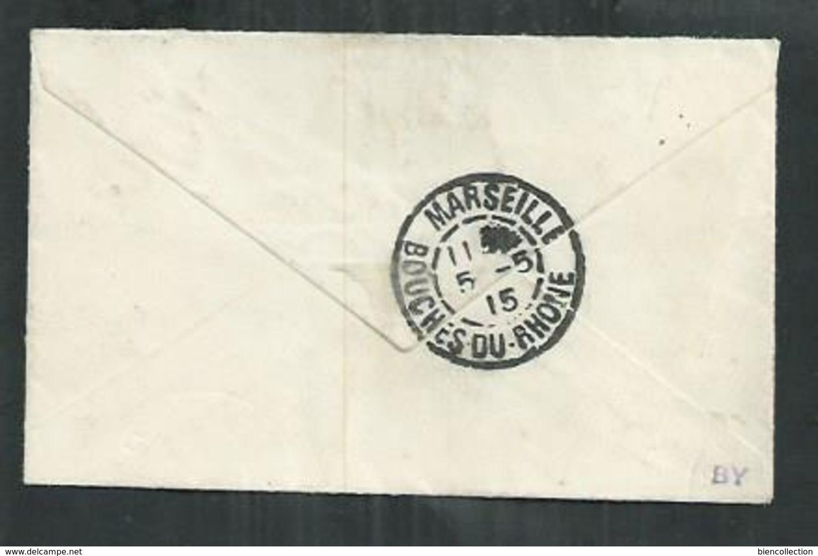 Réunion. Timbre Bord De Feuille Carte De L'ile Surcharge Croix Rouge Noire Sur Petite Enveloppe Pour Marseille - Isola Di Rèunion (1852-1975)