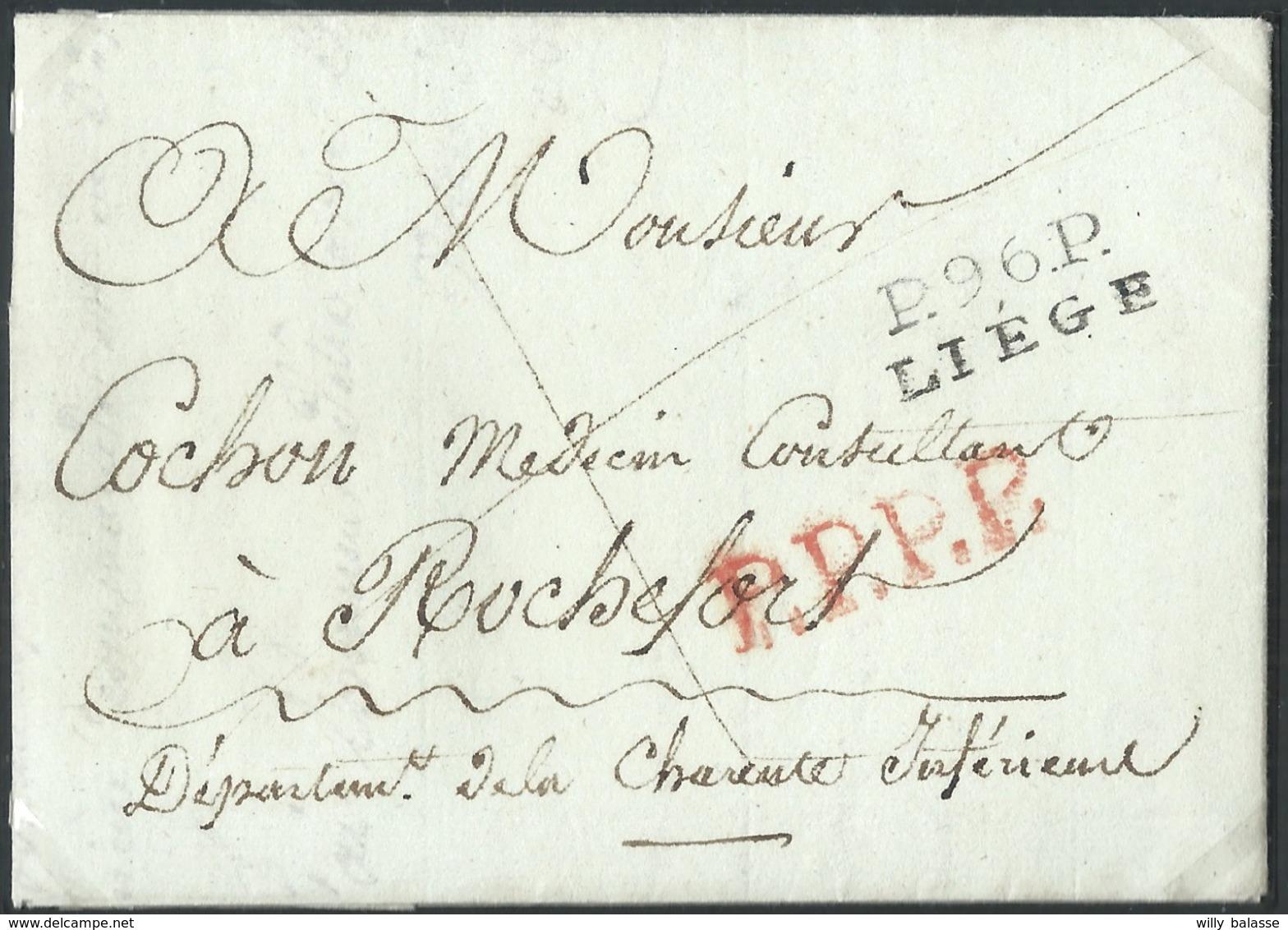 L An 12 Marque P.96.P./LIEGE (23,5 X 9mm) Pour Rochefort (France) + P.P.P.P. (rappel De Port Payé En France) - 1794-1814 (Période Française)
