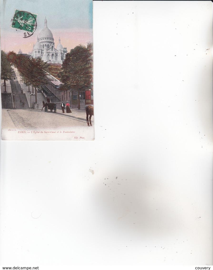 CPA 75 PARIS- MONTMARTRE, église Sacré-Coeur. (animée....)1913. - Sacré Coeur
