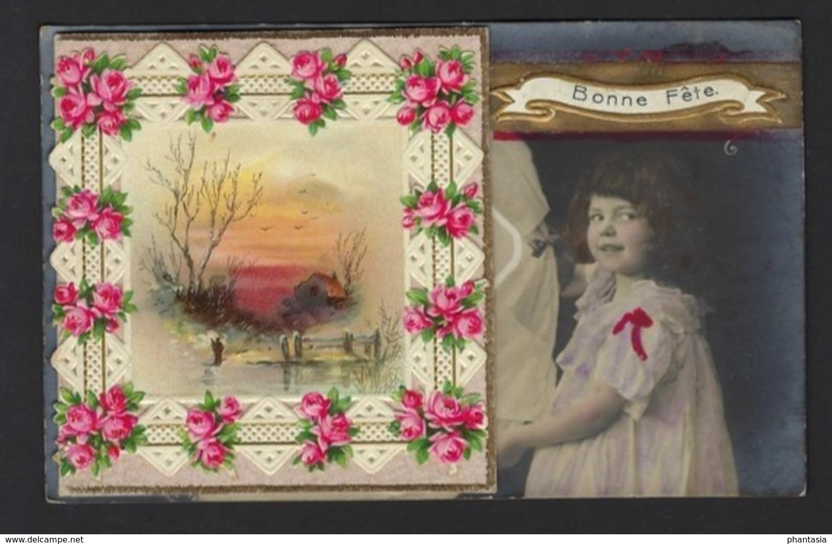 Petite Fille Fleurs - Carte Ouvre Pour Noter - Carte Photo - Little Girl - Flowers - Card Open For Notes - Bonne Fête - Portraits