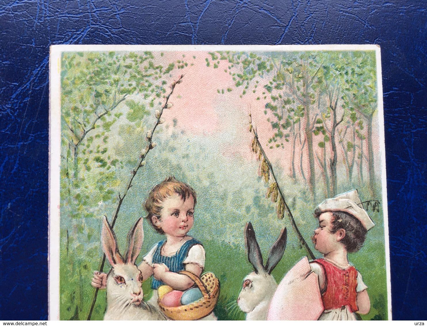 """Embossed-Gaufrée--""""Garçons Jouant Joute équestre Médiévales Sur Lapins De Pâques """"--(720) - Easter"""