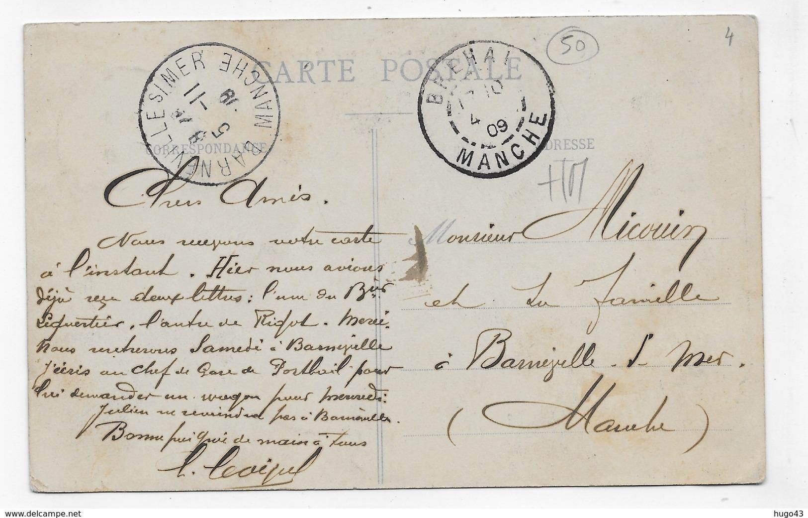 (RECTO / VERSO) GRANVILLE EN 1909 - N° 68 - VUE DES BASSINS ET DE LA PLACE PLEVILLE - BEAU CACHET - CPA VOYAGEE - Granville