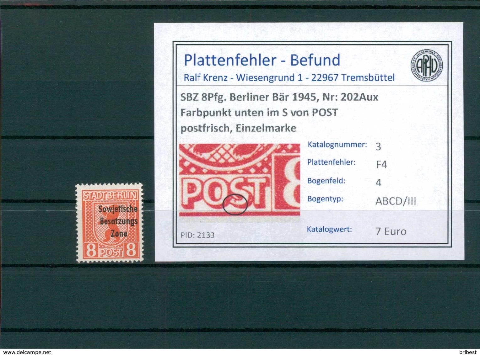 SBZ 1948 Nr 202Aux F4 Postfrisch (204804) - Sowjetische Zone (SBZ)