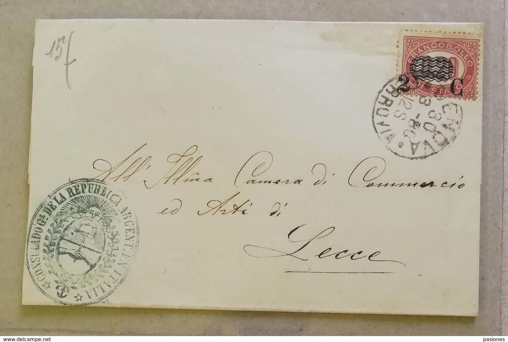 Francobolli Di Servizio, Busta Di Lettera Genova-Lecce - 30/03/1880 2c. Sovrastampato Su 0,20 - Marcofilía
