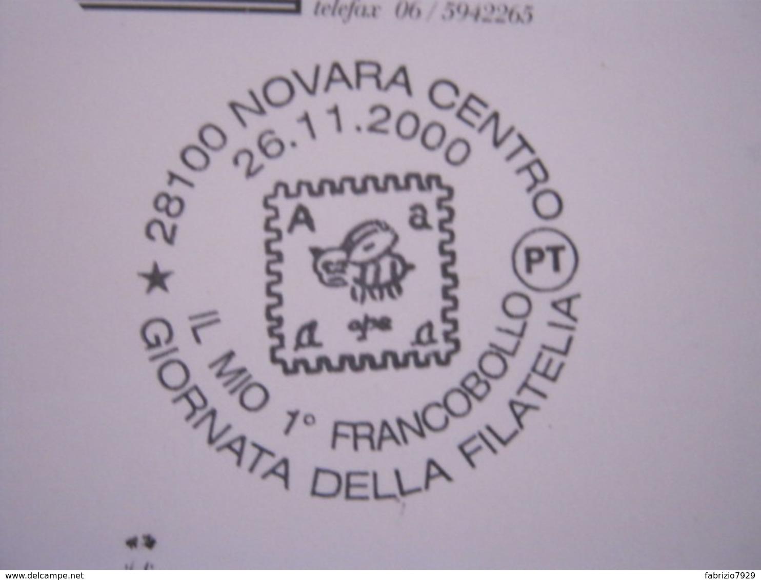 A.13 ITALIA ANNULLO 2000 NOVARA GIORNATA FILATELIA MIO PRIMO FRANCOBOLLO APE API INSETTO A LETTERA ALFABETO VIAGGIATA - Api