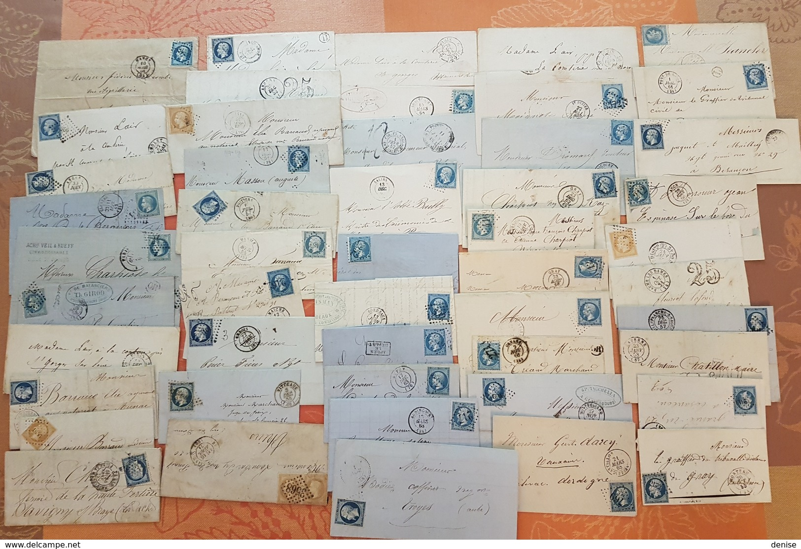 France - Lot De 50 Lettres Classiques  - DEPART 1 EURO - Postmark Collection (Covers)