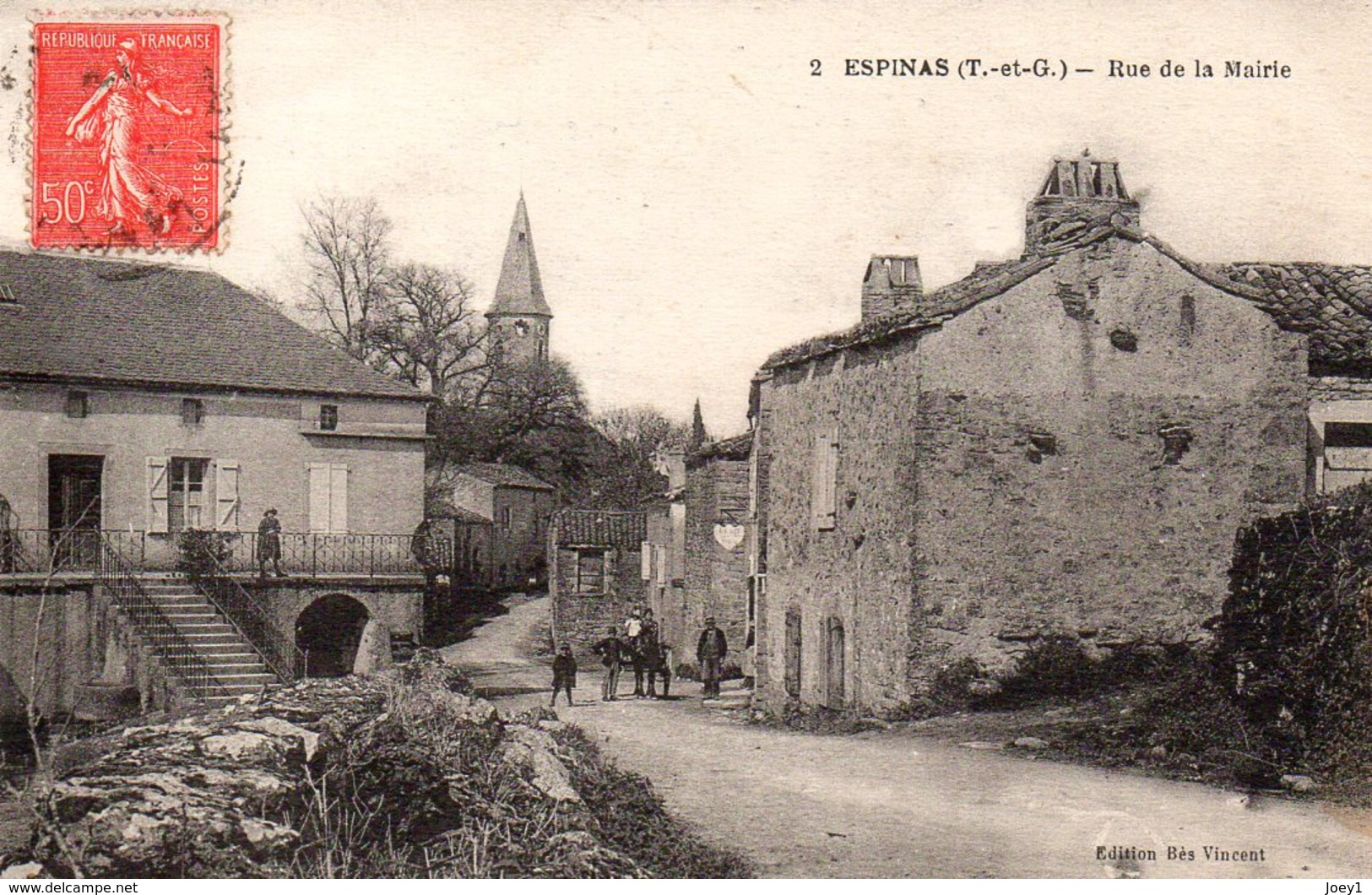 Cpa Espinas Rue De La Mairie.Très Rare. - Frankreich