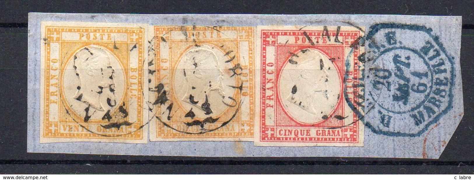 NAPLES : N° 14 , 2EX . N° 16 ( UN DÉFAUT )  . SUR FGT . CAD D'ENTRÉE EN BLEU . 1861 . ( CATALOGUE YVERT ) . - Napoli