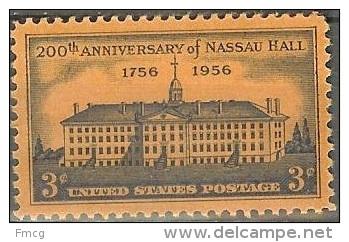 1956 3 Cents Nassau Hall, Mint Never Hinged - Ongebruikt