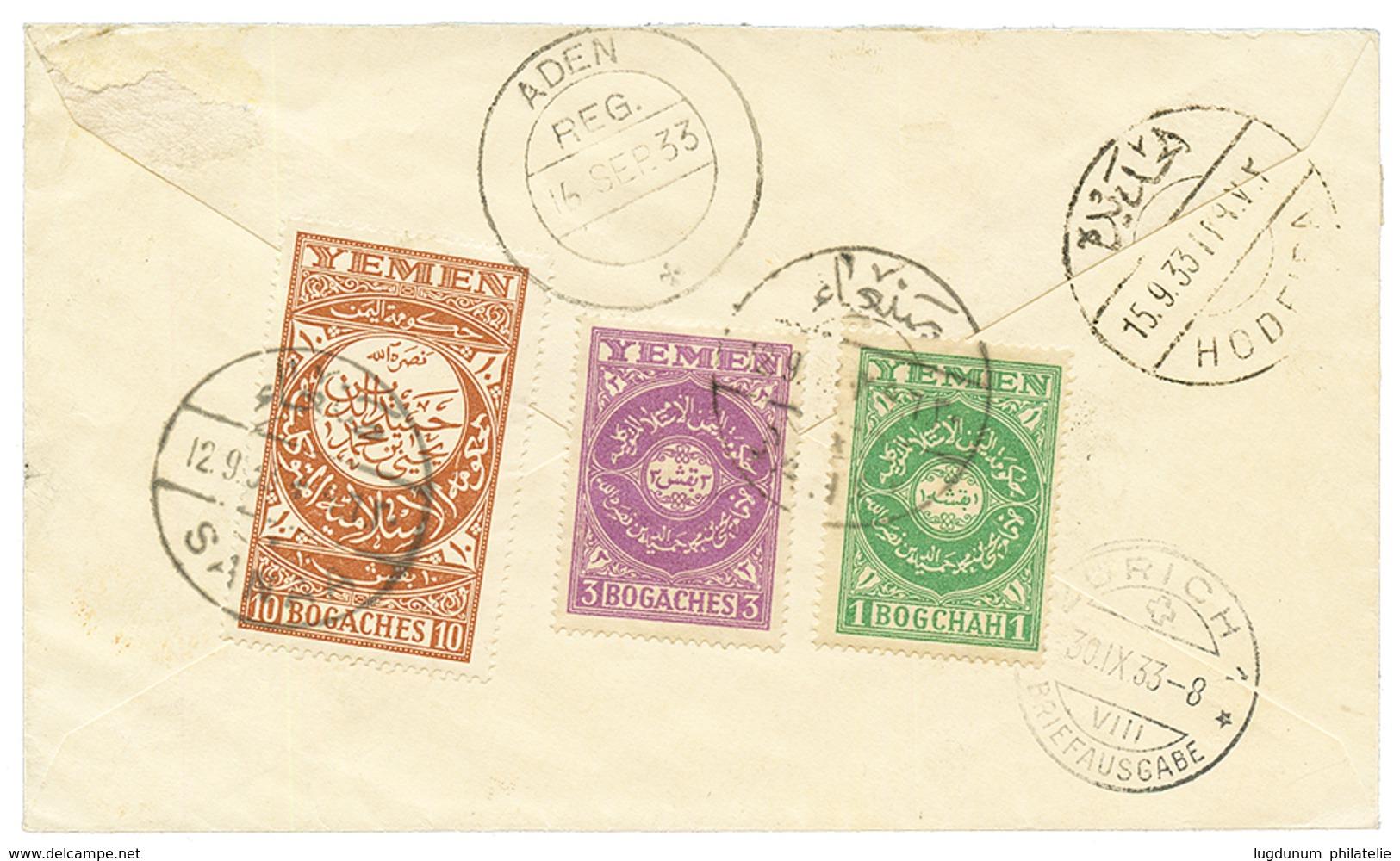 1933 YEMEN 1b + 3b + 10b Canc. SANAA On REGISTERED Envelope Via HODEIDA & ADEN To SWITZERLAND. Vvf. - Yemen