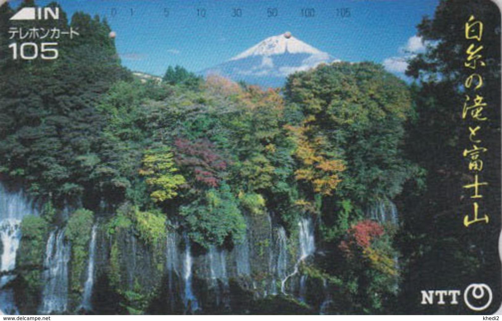TC JAPON / NTT 290-165 A - MONT FUJI & Cascade TBE - Waterfall & Mountain Landscape JAPAN Phonecard - Volcans