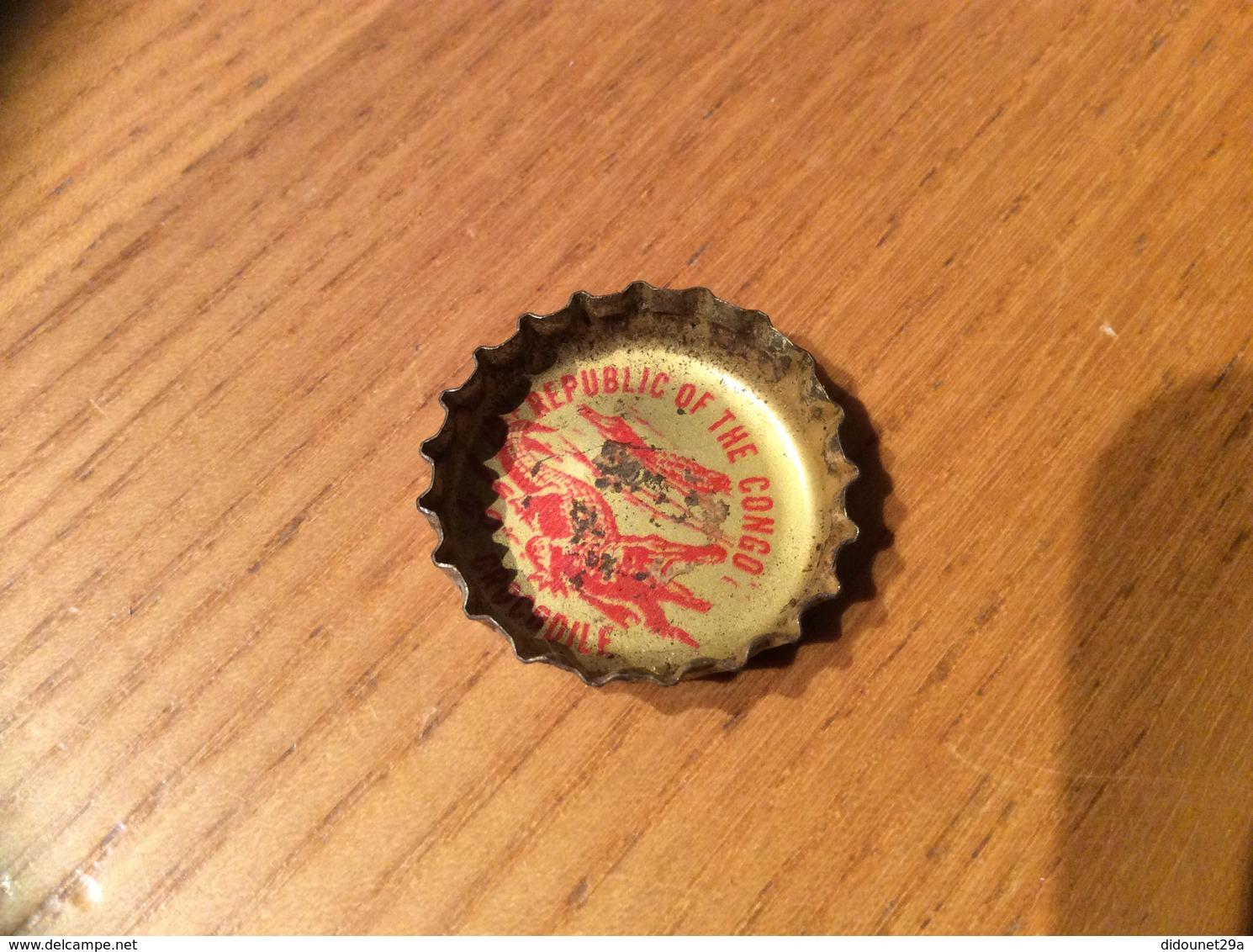 """Ancienne Capsule """"Coke N°20 - REPUBLIC OF THE CONGO - CROCODILE""""Etats-Unis (USA) Coca-Cola, Série Pays (Liège Enlevé) - Soda"""