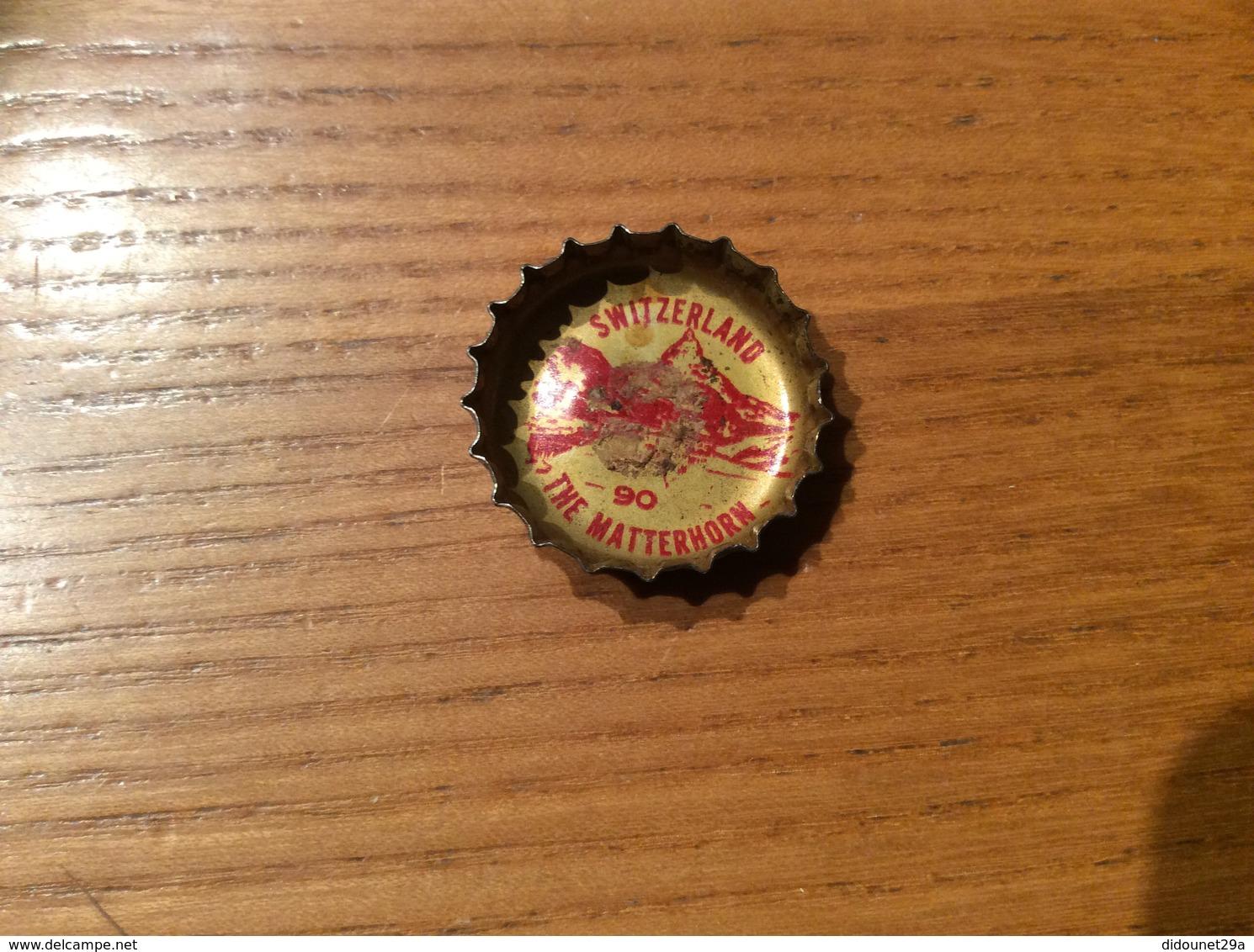 """Ancienne Capsule """"Coke N°90 - SWITZERLAND - THE MATTERHORN""""Etats-Unis (USA) Coca-Cola, Série Pays (Liège Enlevé) - Soda"""