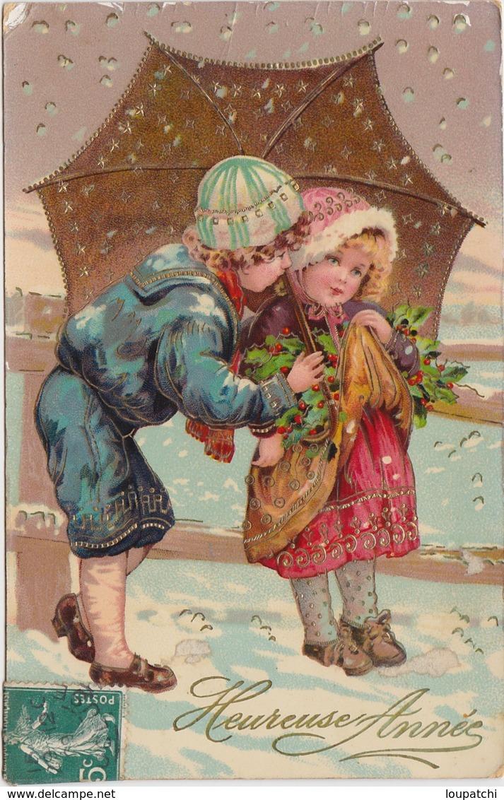 CARTE Gel Brillant Heureuse Année Enfants Sous Un Parapluie - Nouvel An