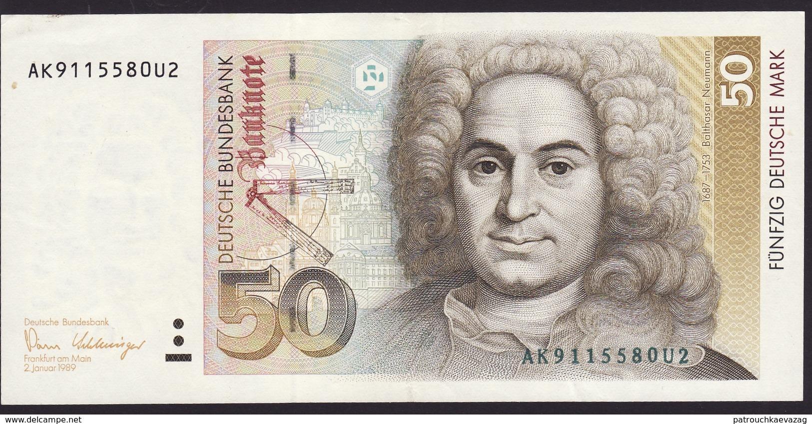 Deutsche Bundesbank- 50 DM - Geldschein Vom 2. Januar 1989 - Vorzüglich. Billet De 50 DM. Excellent - 50 Deutsche Mark