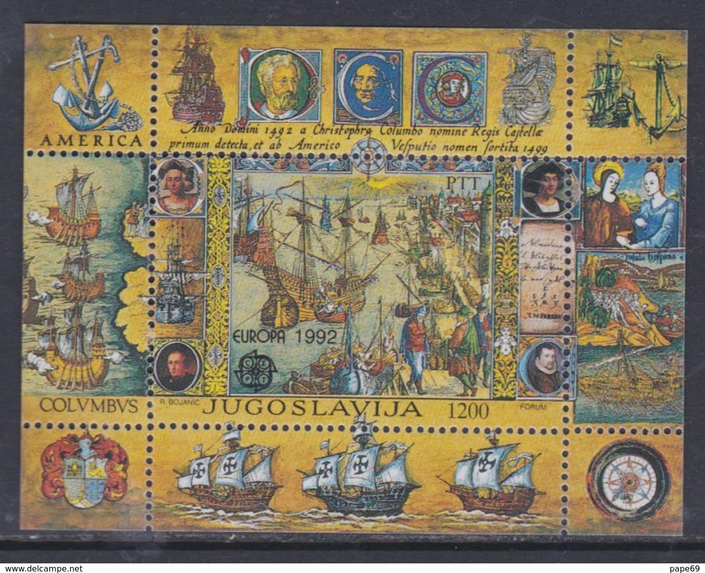 Yougoslavie BF N° 40 XX 500è Anniv. De La Découverte De L'Amérique, Le  Bloc Sans Charnière, TB - Blocs-feuillets