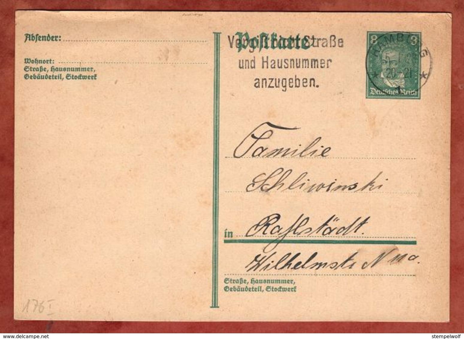 P 176 Beethoven, MS Vergiss Nicht Strasse.. Hamburg, Nach Rahlstedt 1928 (91018) - Deutschland