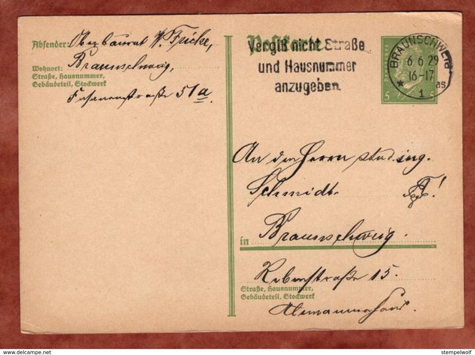P 180 Hindenburg, Studentica, MS Vergiss Nicht Strasse.. Braunschweig 1929 (91019) - Deutschland