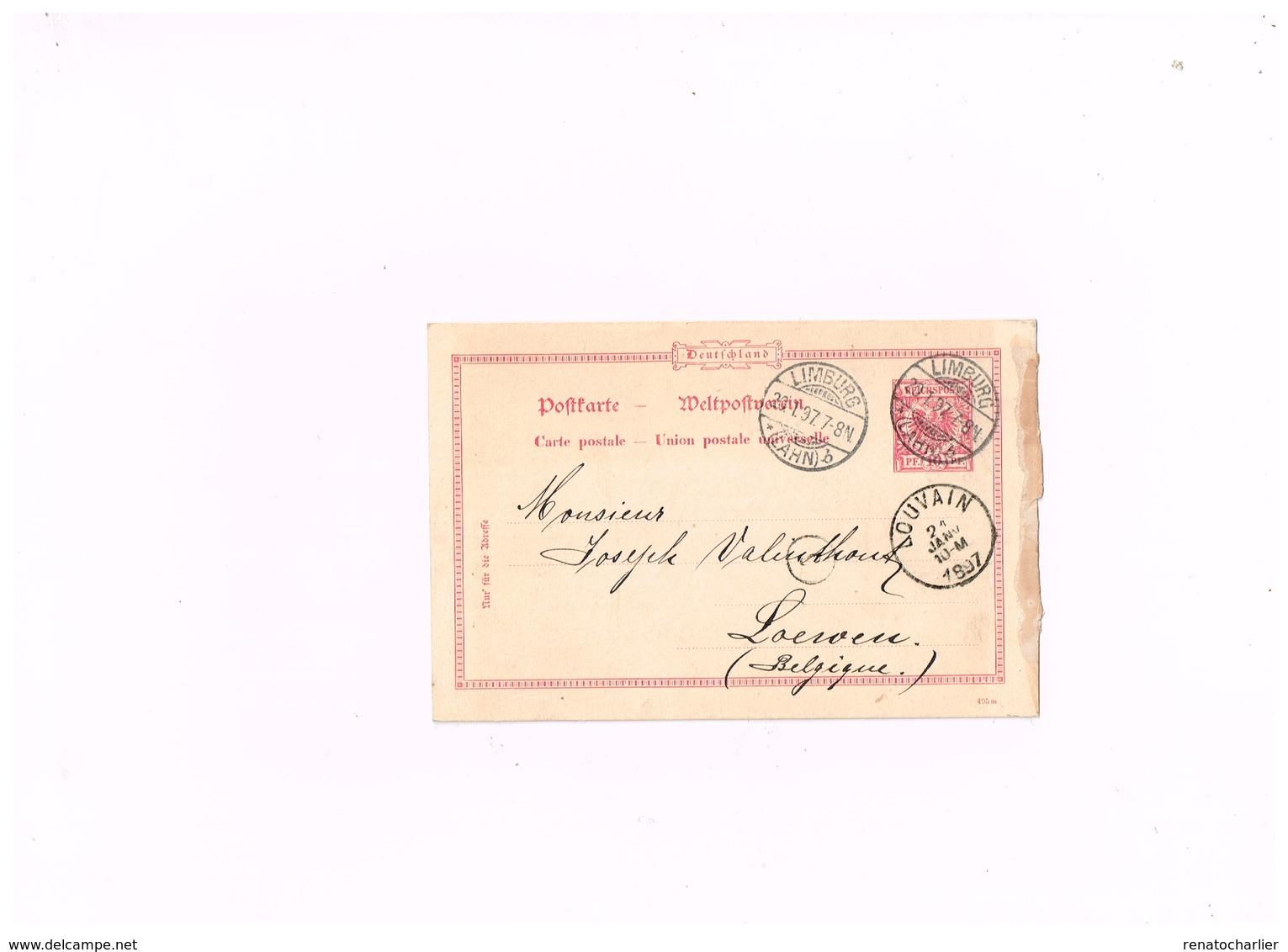 Entier Postal à 10 Pfennig.Expédié De Limburg (Lahn) à Louvain (Belgique) - Deutschland