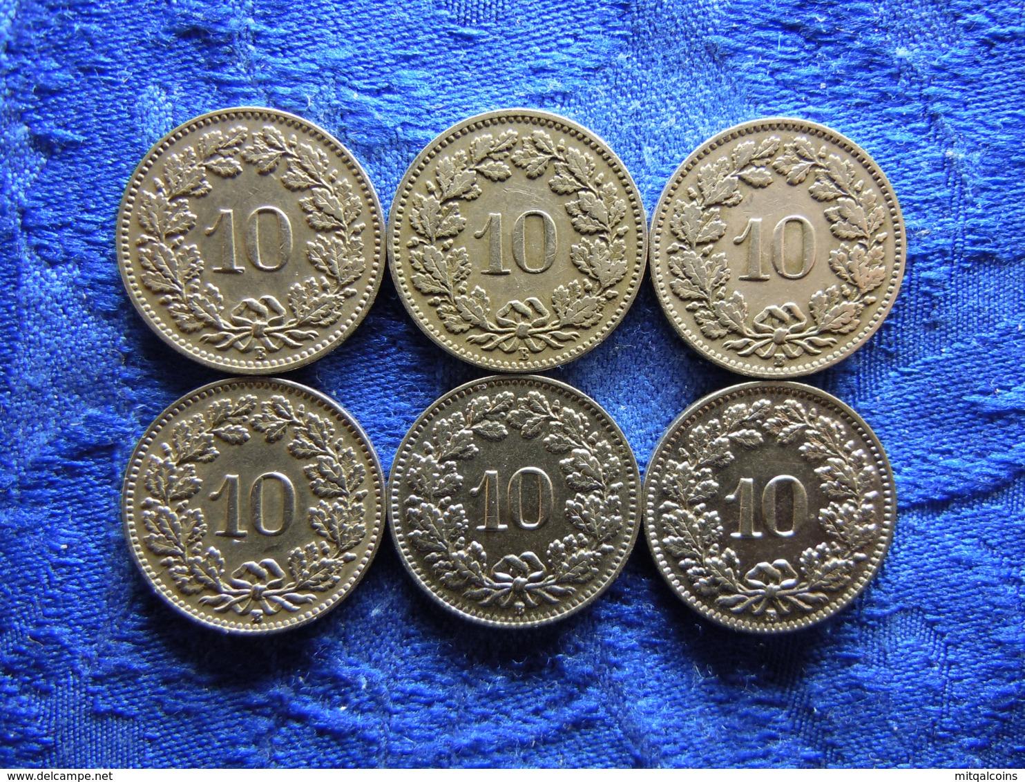 SWITZERLAND 10 RAPPEN 1881, 1882, 1925, 1927 KM27, 1938, 1939 KM27b (6) - Suisse