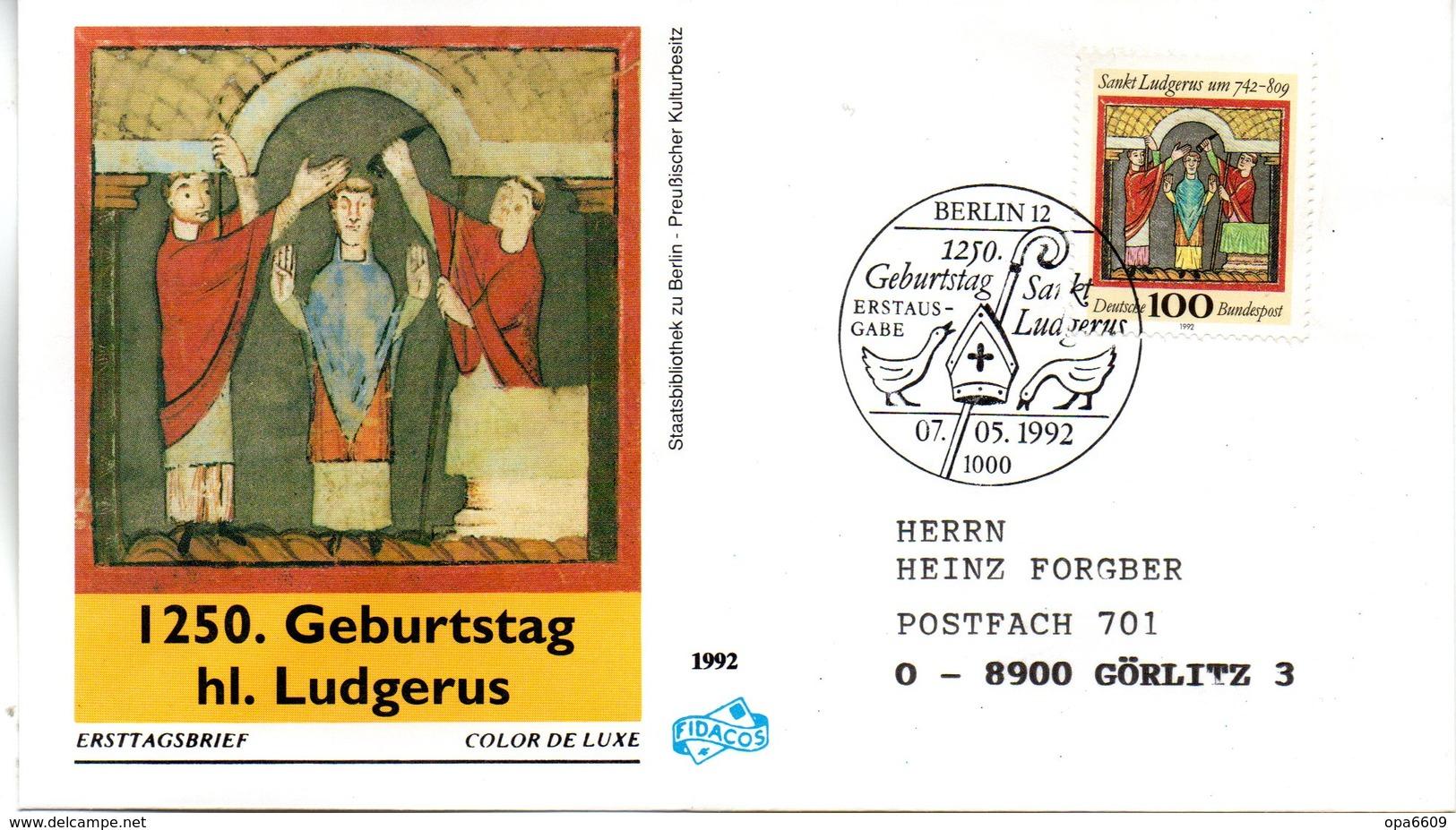 """BRD Schmuck-FDC """"1250.Geburtstag Der Hl. Ludgerus"""" Mi. 1610 ESSt 7.5.1992 BERLIN 12 - FDC: Covers"""