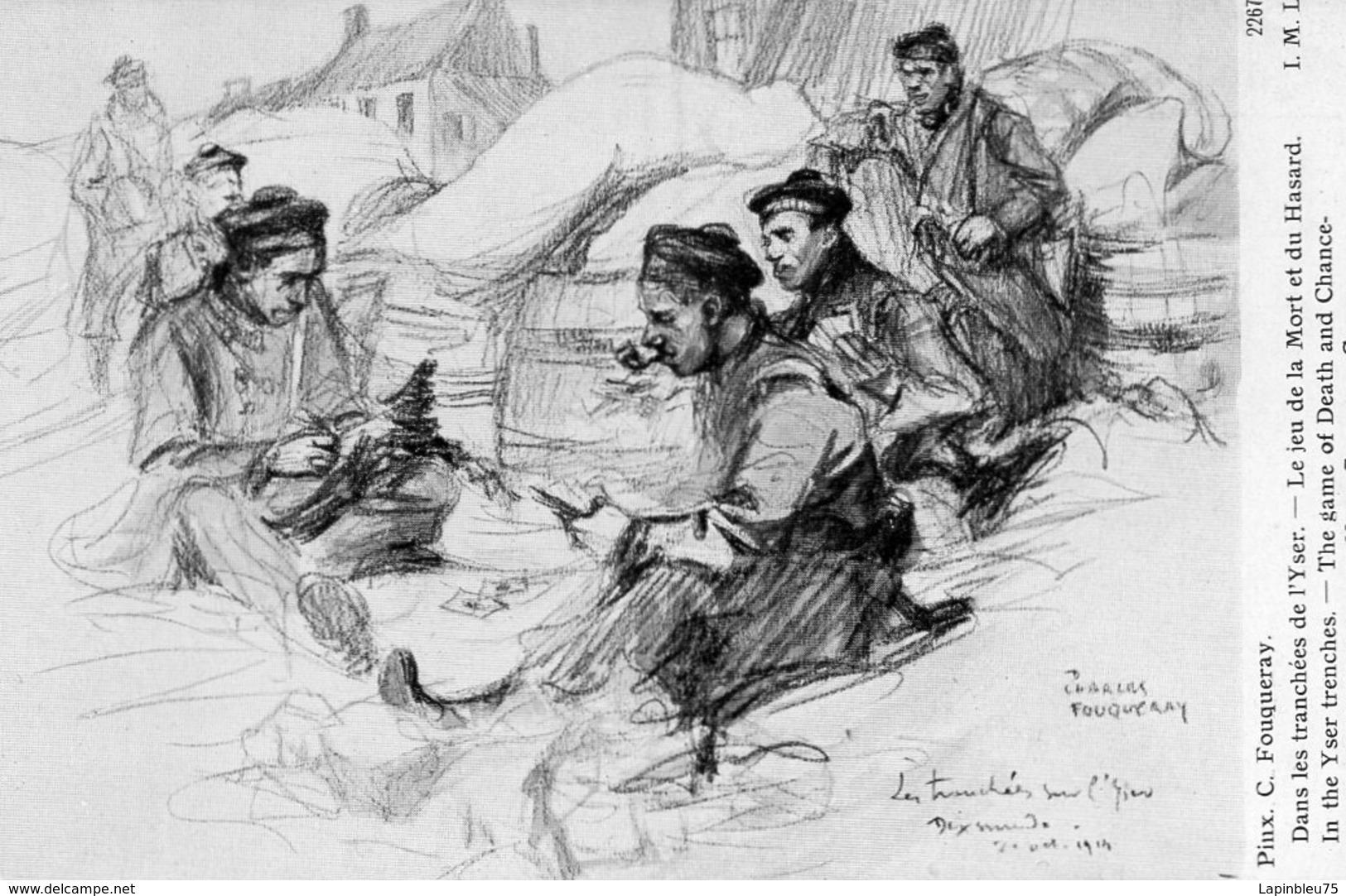 CPA Guerre 14 Fouqueray Tranchées Yser Jeu De La Mort Et Du Hasard - War 1914-18