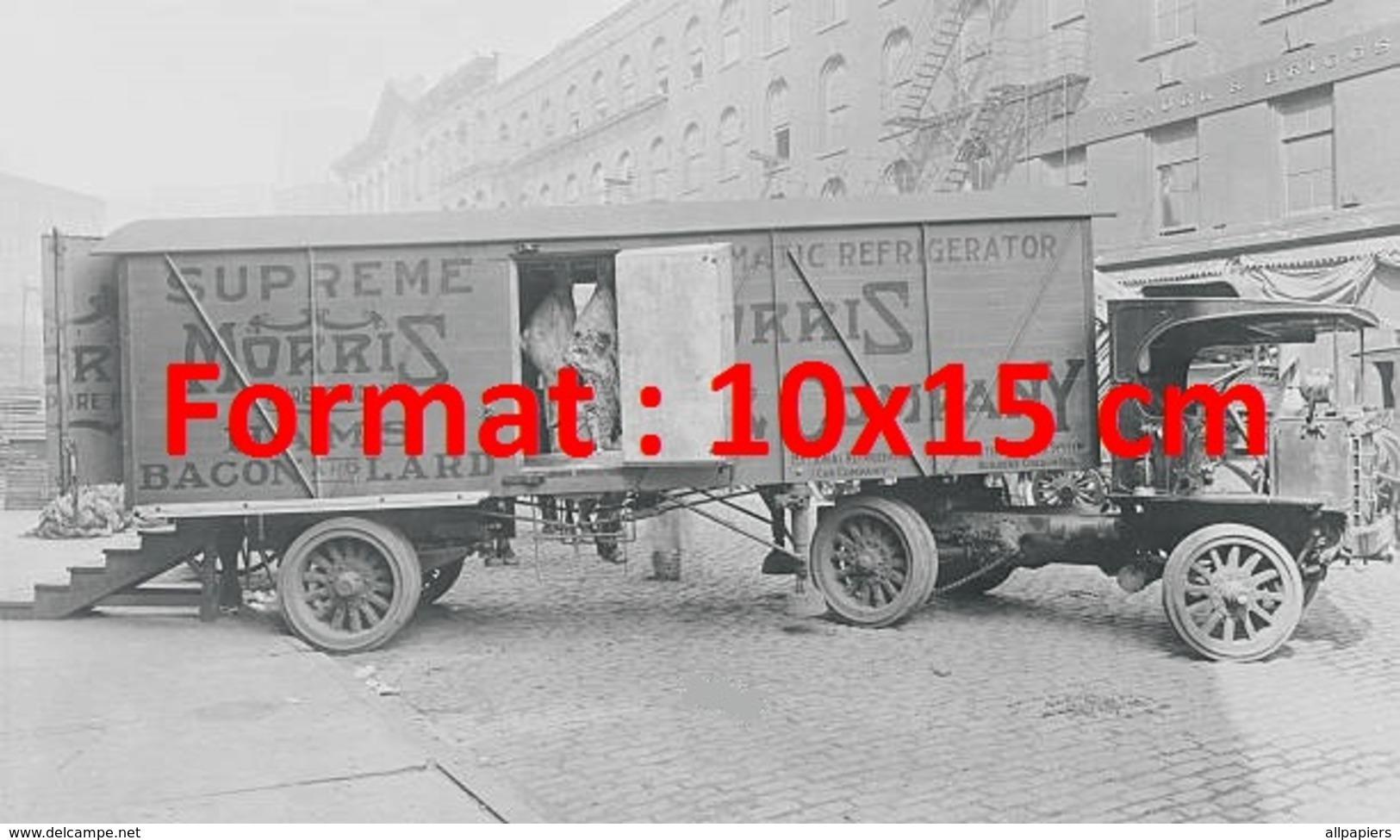 Reproduction D'une Photographie Ancienne D'un Camion Avec Remorque Réfrigération Années 1900 - Reproductions