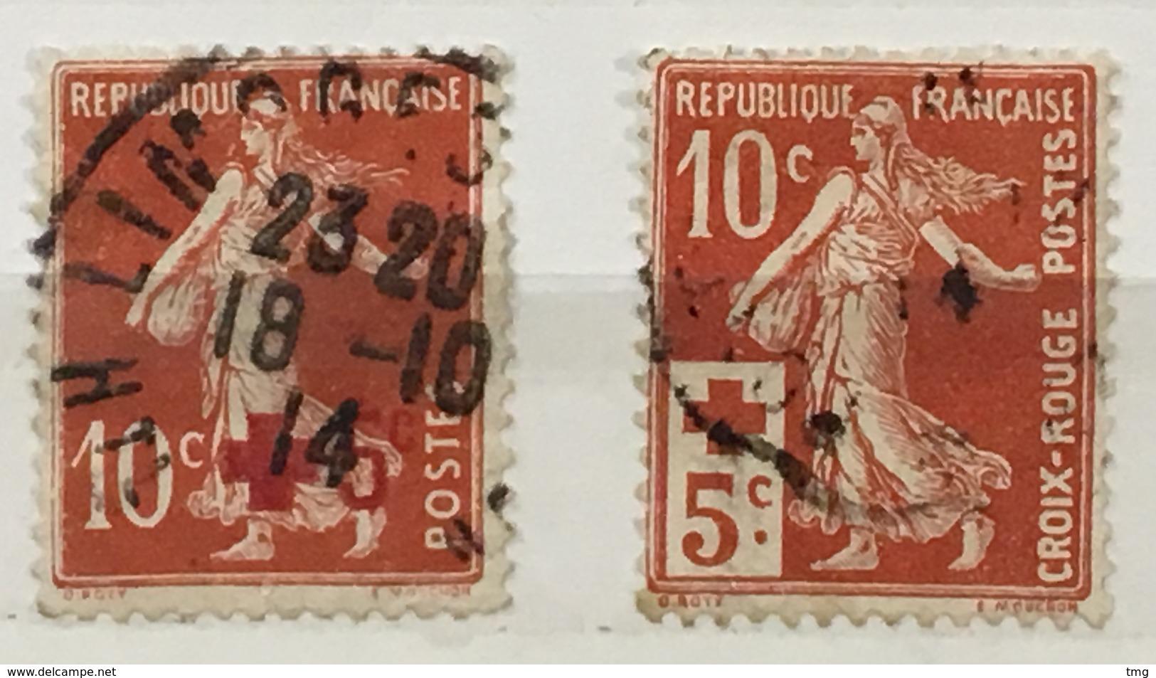 YT 146 147 (°) Oblitéré 1914, Semeuse Fond Plein 10c+5c Croix-rouge (côte 10 Euros) - Frankreich