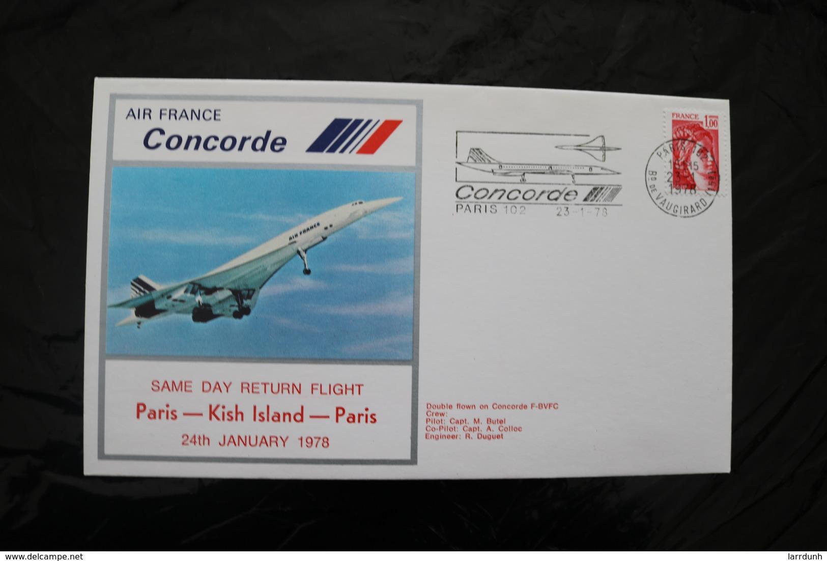 France  Same Day Return Flight Paris Kish Island Paris Concorde Special Cancel 1978  A04s - Concorde