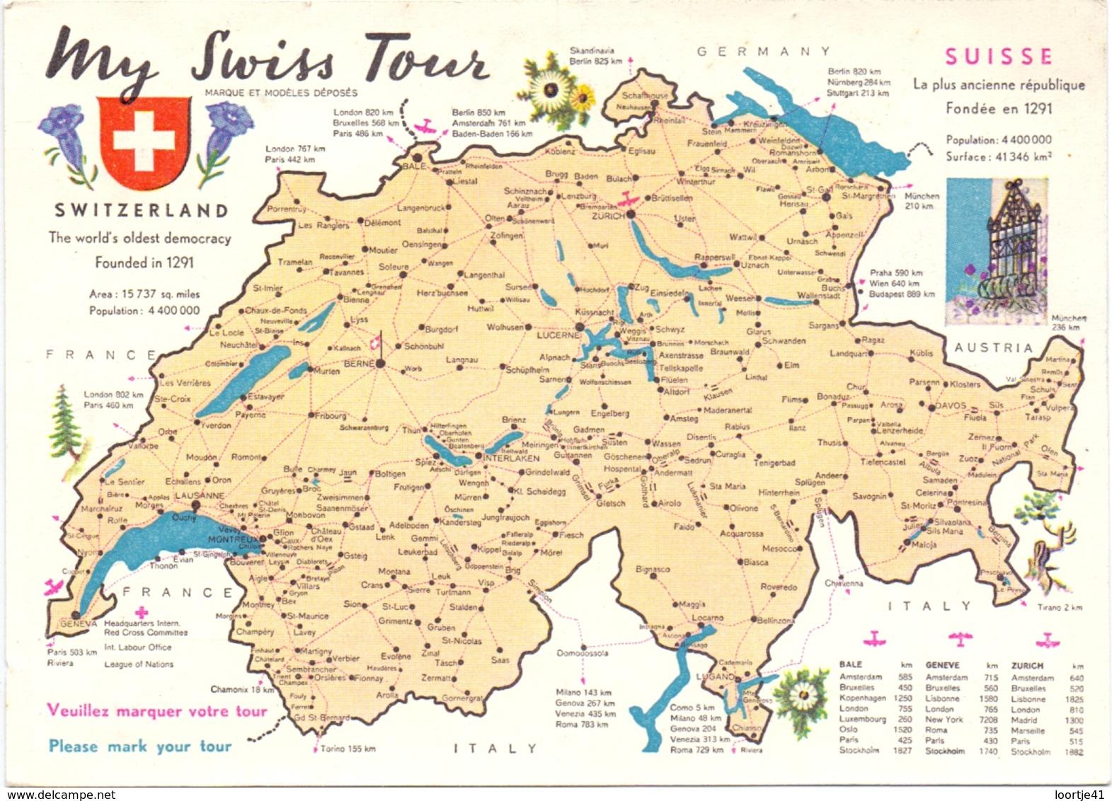 Carte Postale - Briefkaart - Hotel Suisse & Majestic à Montreux - Hotels & Restaurants