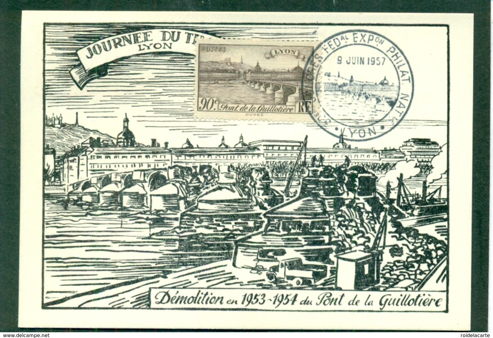 CM-Carte Maximum Card #France-1939 #(Yv. 450)Pont De La Guillotière ,bridge ,Brücke By Lyon, Obl. Expo Phil, Lyon 19573 - 1930-39
