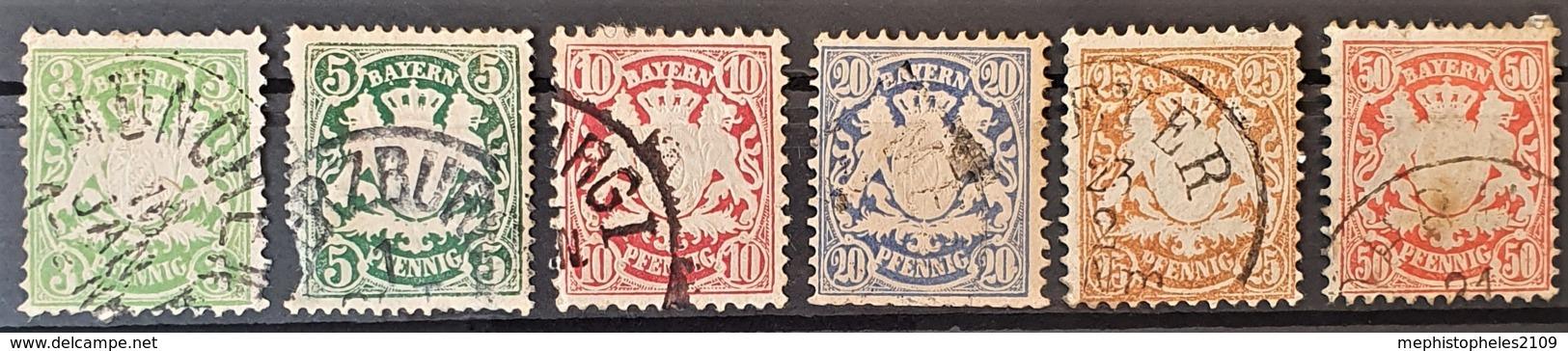 BAYERN / BAVARIA 1876 - Canceled - Mi 37-42 - Complete Set! - 38 Damaged On Lower Left Edge! - Bayern