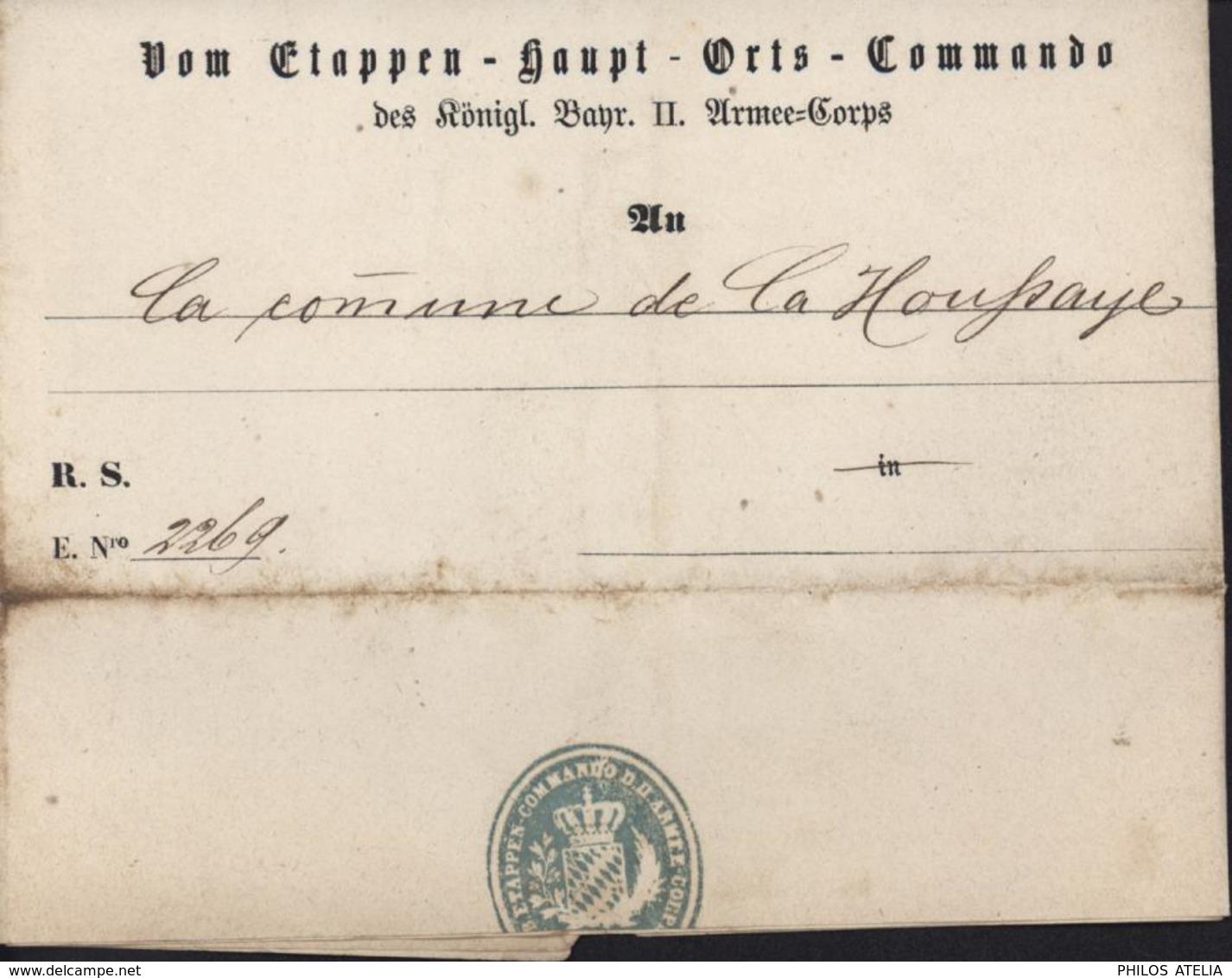 Guerre 1870 Occupation Allemande La Houssaye Eure Vom Etappen Haupt Orts Commando Konigl Bahr II Armee Corps Feldpost - War 1870