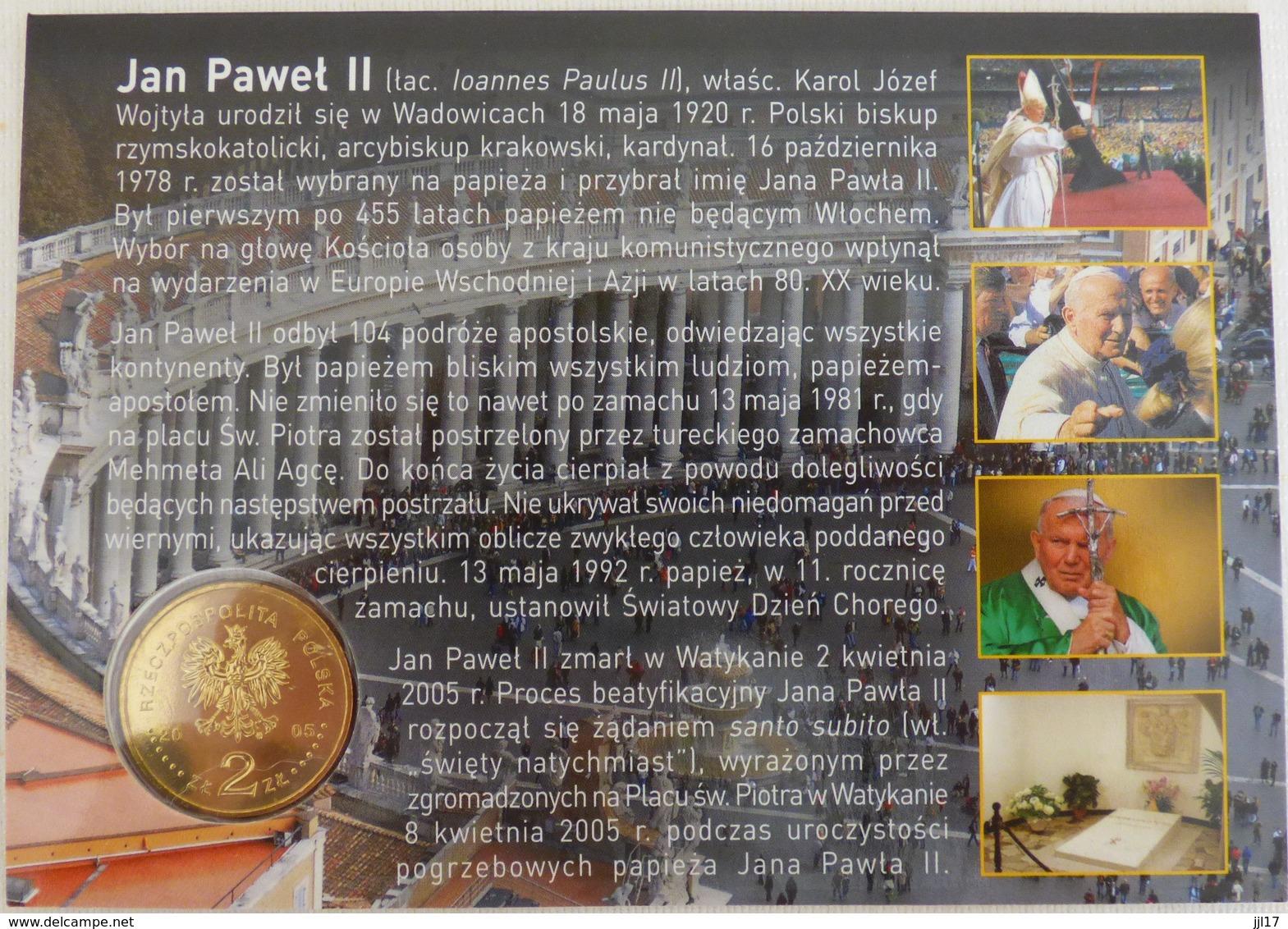 Carte-hommage Au Décès Du Pape Jean-Paul II + Pièce 2zl Incluse - 2005 - - Pologne