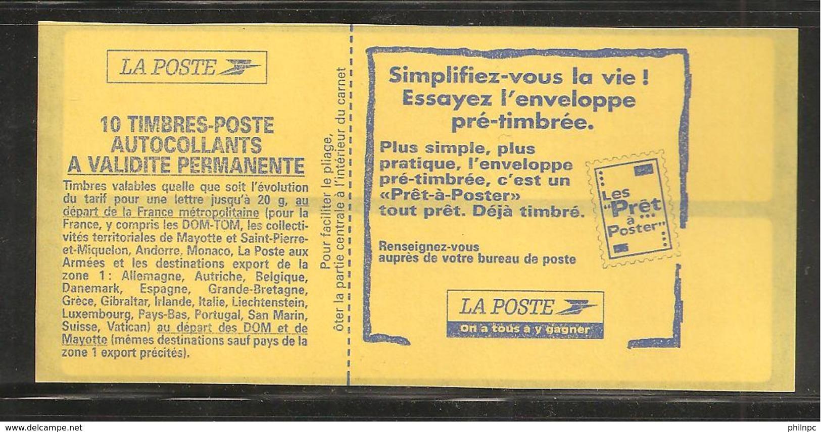 France, 2874-C8, Daté, Carnet Neuf, Non Plié, TTB, Sagem, Essayez L'enveloppe Pré-timbrée, Carnet Marianne De Briat - Usage Courant