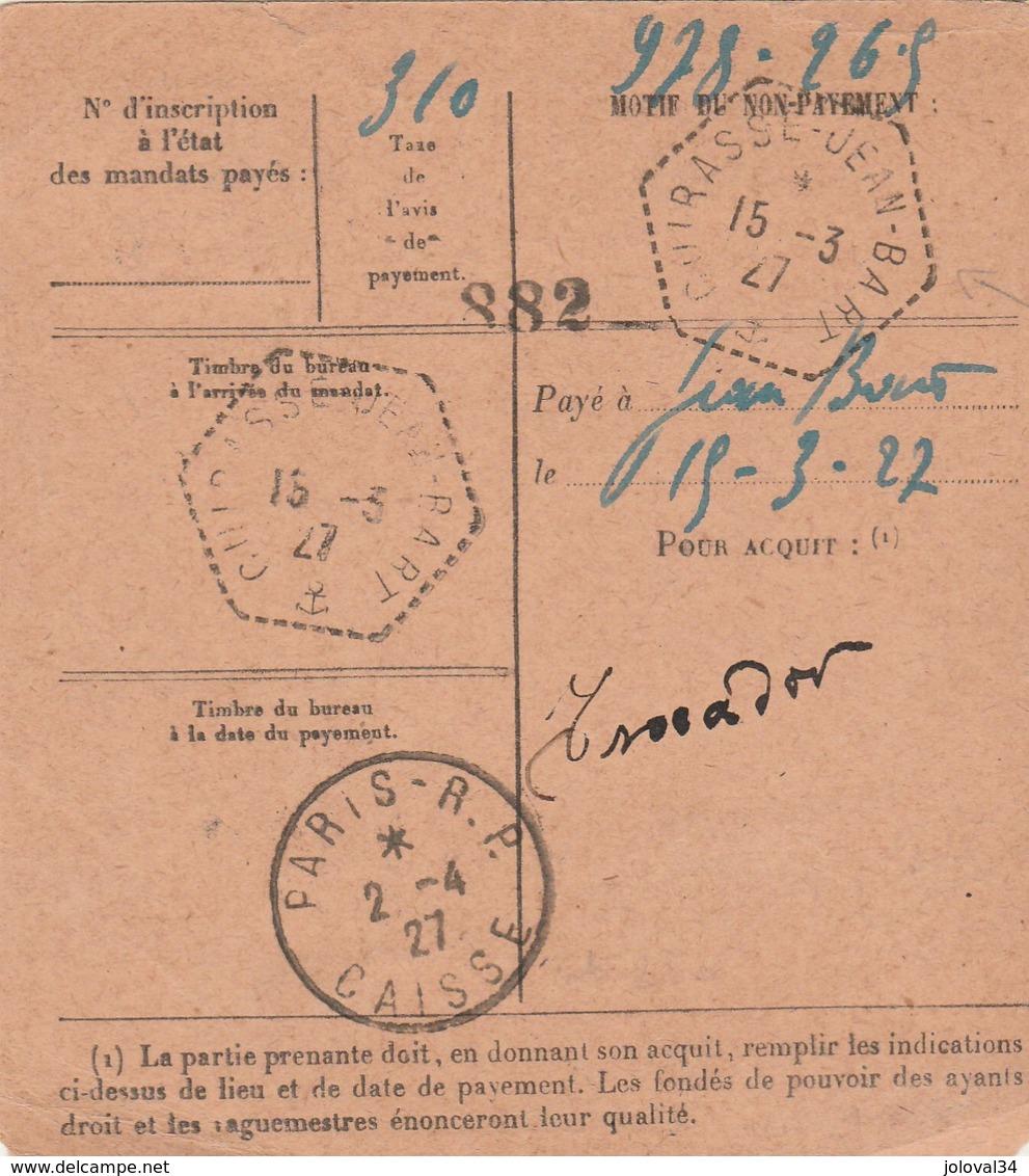 RARE Yvert 222 Pasteur Sur Mandat Carte LE SOLER Pyrénées Orientales 1927 Pour Cuirassé JEAN BART Passe Paris Caisse - Frankreich