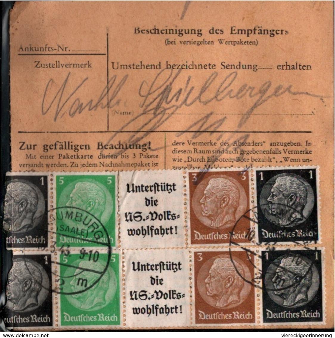 ! 1943 Paketkarte Deutsches Reich, Naumburg A.d. Saale Nach Leipzig,  Zusammendrucke - Deutschland