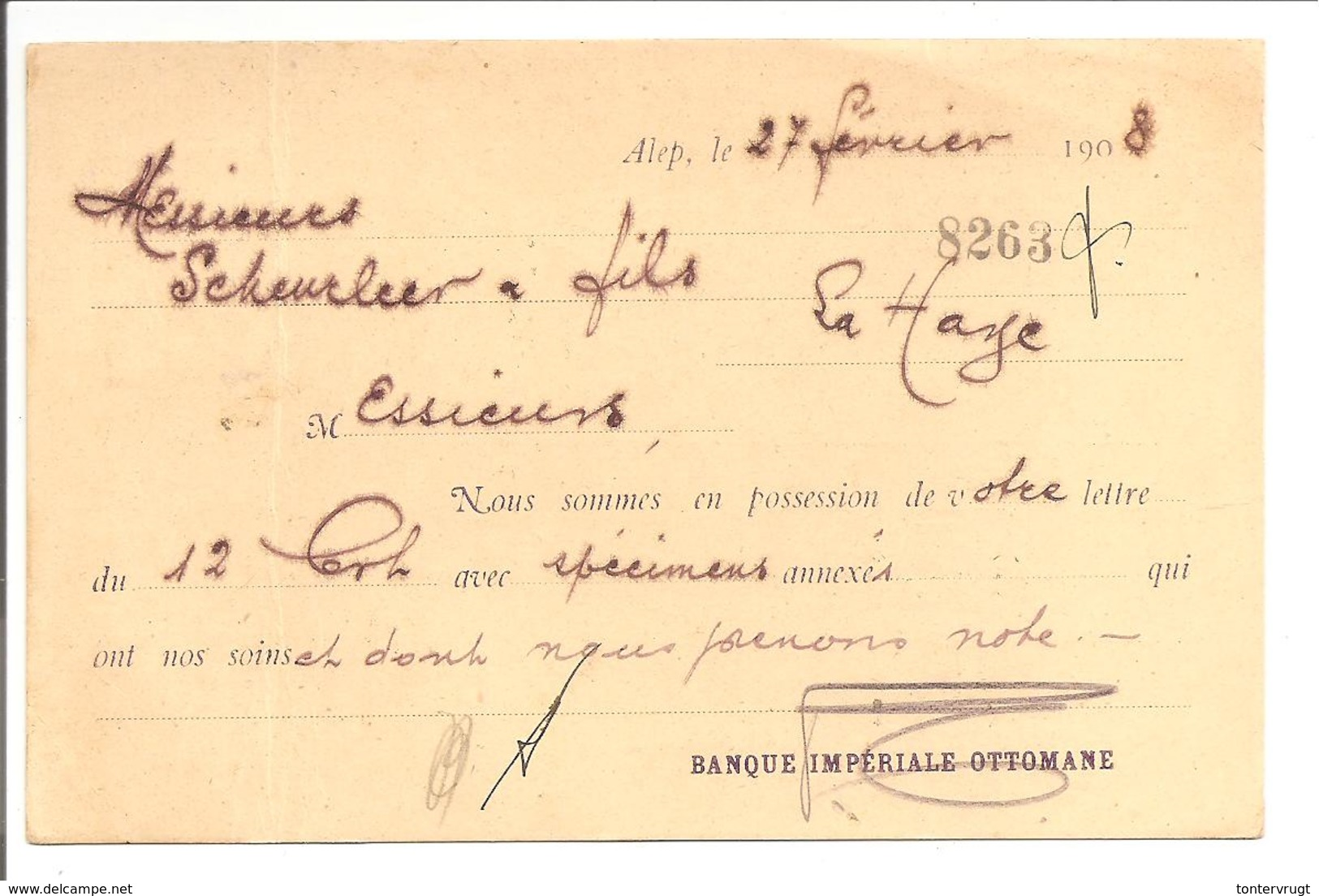 ALEP SYRIE Ottoman Turkey 27.2.1908 Banque Impériale Ottomane>Nederland - Syrien
