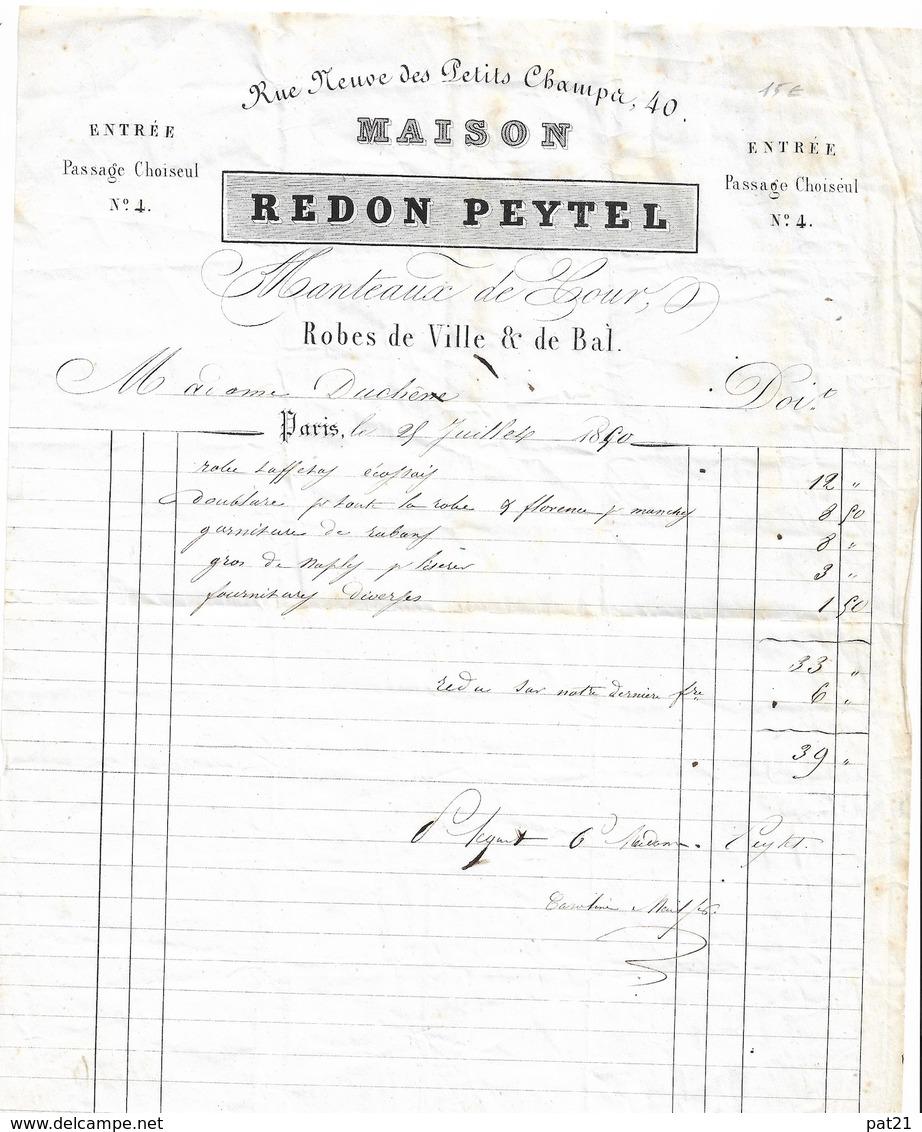 PARIS  1850  Maison REDON  Rue Neuve Des Petits Champs   Entrée Passage Choiseul       Robes De Vile Et De Bal - 1800 – 1899
