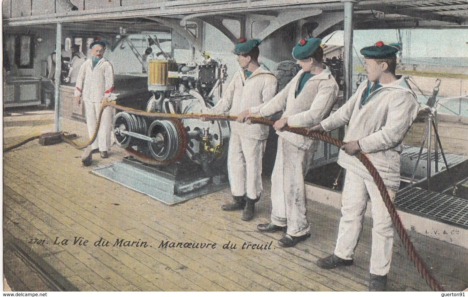 CPA (bateaux De Guerre)  La Vie Du Marin Manoeuvre Du  Treuil  (b.bur Theme) - Guerra